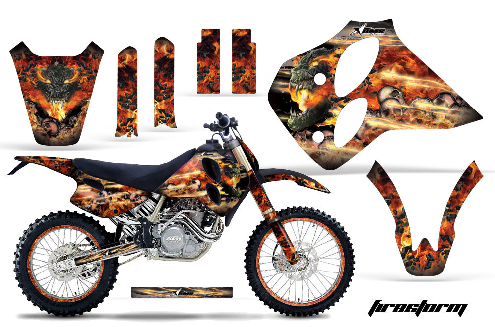 Graphics Kit Decal Sticker Wrap + # Plates For KTM SX/XC/EXC/LC4 1993-1997 FIRESTORM BLACK