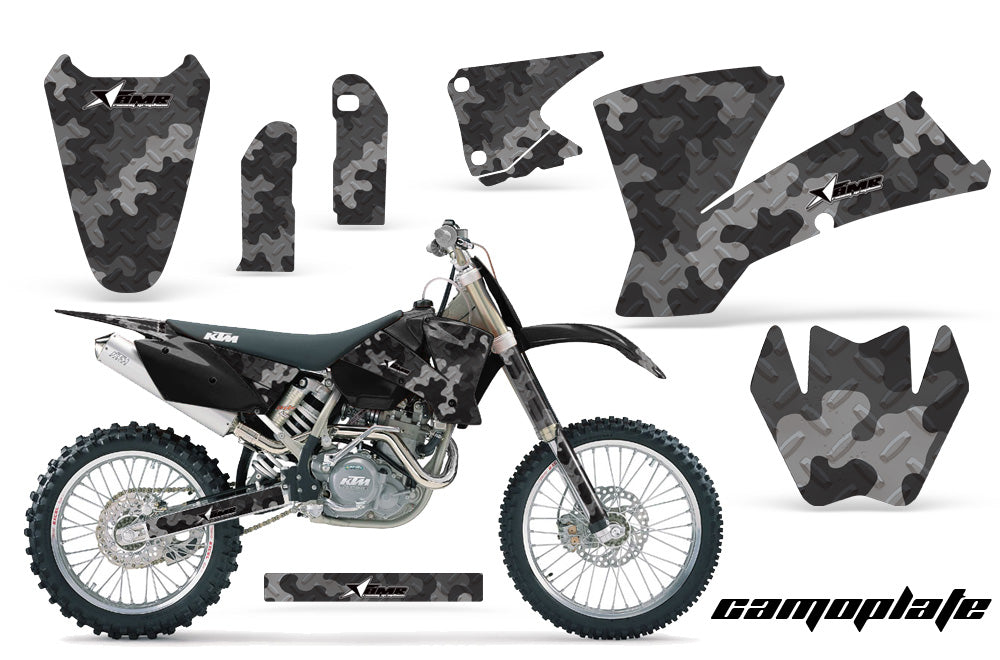 Dirt Bike Graphics Kit Decal Wrap For KTM SX SXS EXC MXC 2001-2004 CAMOPLATE BLACK-atv motorcycle utv parts accessories gear helmets jackets gloves pantsAll Terrain Depot