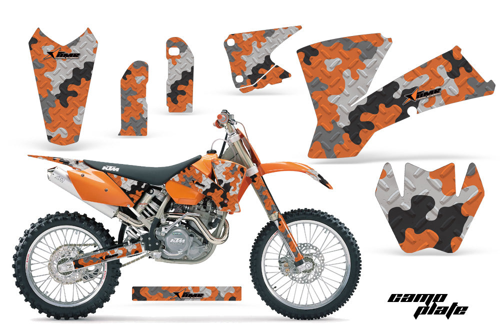 Dirt Bike Graphics Kit Decal Wrap For KTM SX SXS EXC MXC 2001-2004 CAMOPLATE ORANGE-atv motorcycle utv parts accessories gear helmets jackets gloves pantsAll Terrain Depot