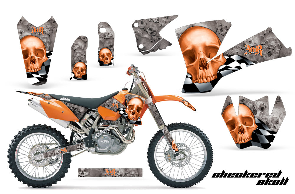 Dirt Bike Graphics Kit Decal Wrap For KTM  SX SXS EXC MXC 2001-2004 CHECKERED ORANGE