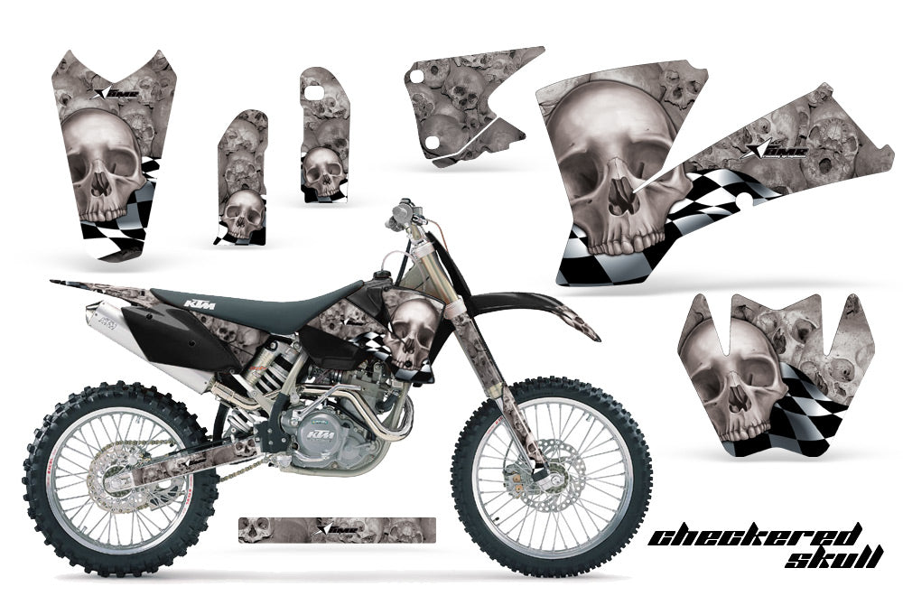 Dirt Bike Graphics Kit Decal Wrap For KTM  SX SXS EXC MXC 2001-2004 CHECKERED SILVER