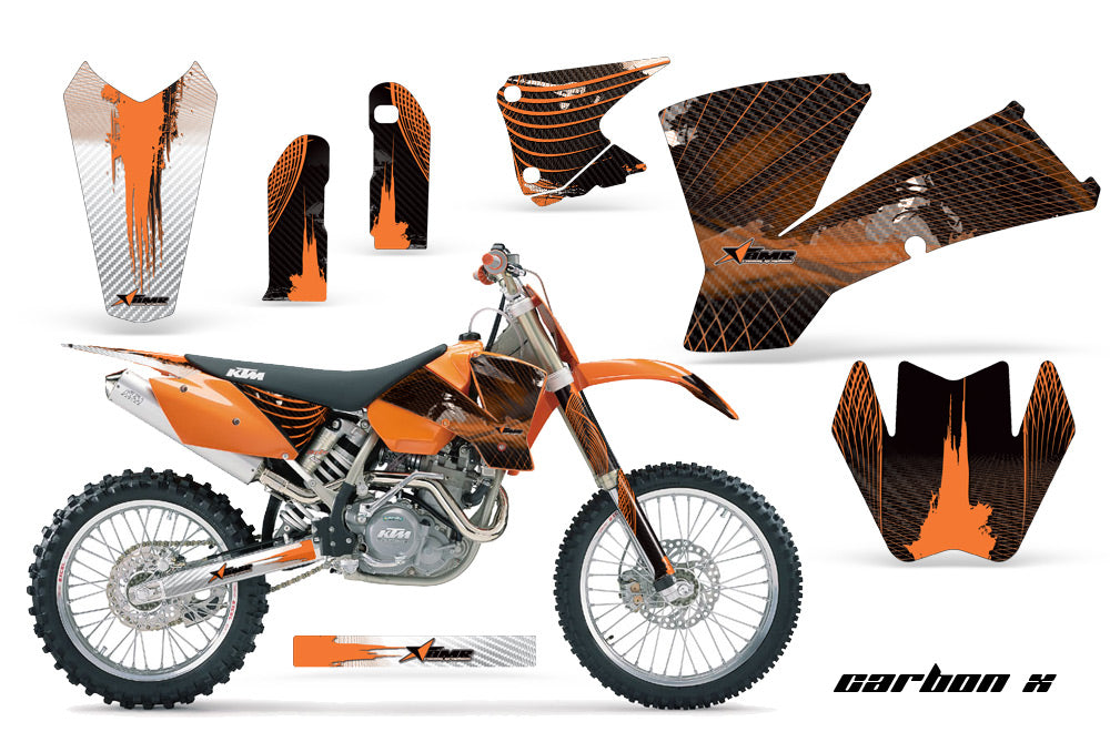 Dirt Bike Graphics Kit Decal Wrap For KTM  SX SXS EXC MXC 2001-2004 CARBONX ORANGE