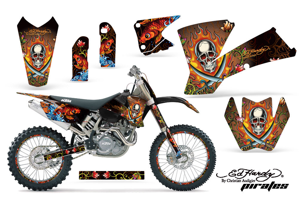 Graphics Kit Decal Wrap + # Plates For KTM  SX SXS EXC MXC 2001-2004 EDHP ORANGE