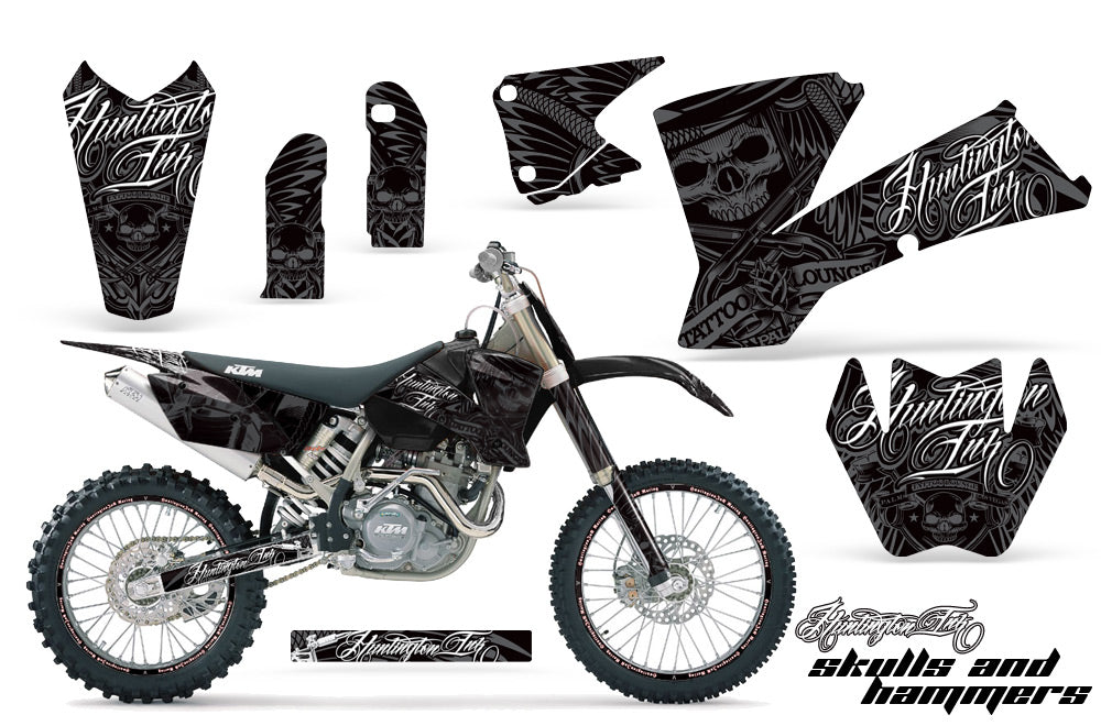 Graphics Kit Decal Wrap + # Plates For KTM  SX SXS EXC MXC 2001-2004 HISH SILVER