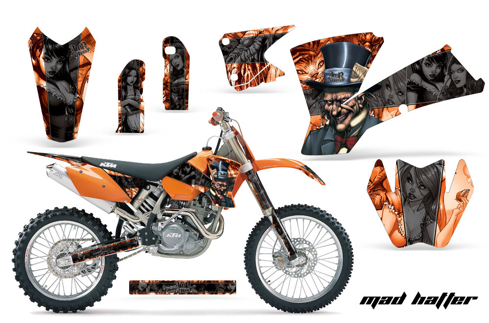 Dirt Bike Graphics Kit Decal Wrap For KTM  SX SXS EXC MXC 2001-2004 HATTER BLACK ORANGE