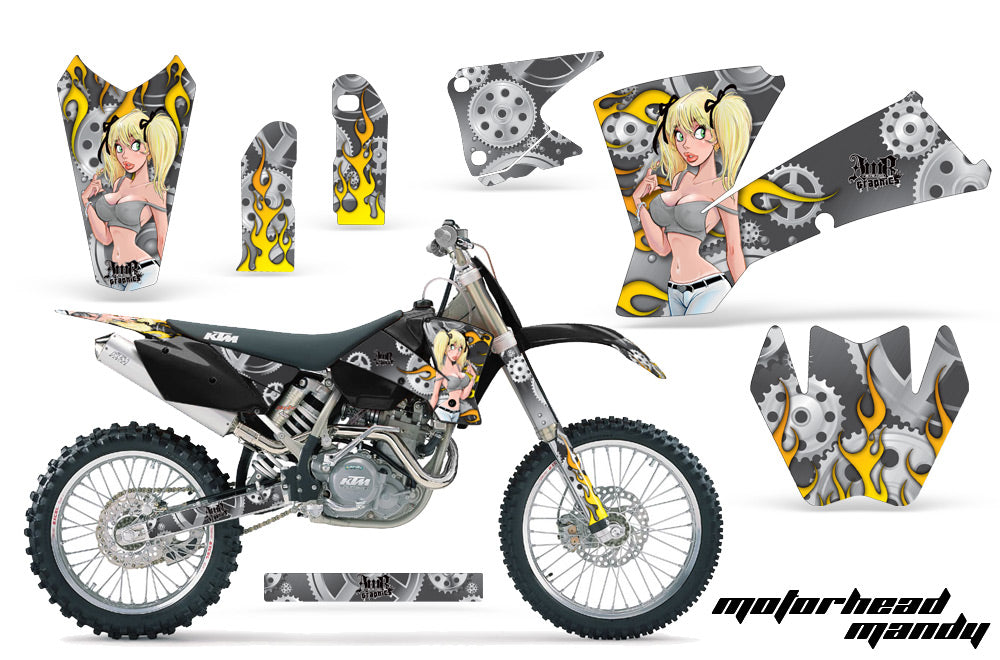 Dirt Bike Graphics Kit Decal Wrap For KTM  SX SXS EXC MXC 2001-2004 MOTO MANDY SILVER