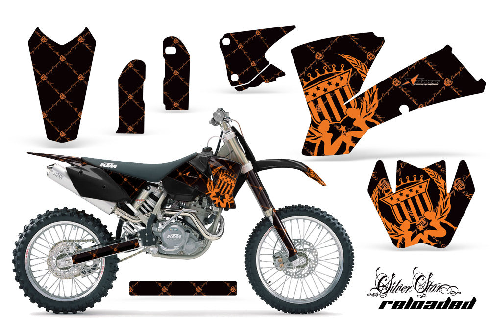 Dirt Bike Graphics Kit Decal Wrap For KTM  SX SXS EXC MXC 2001-2004 RELOADED ORANGE BLACK
