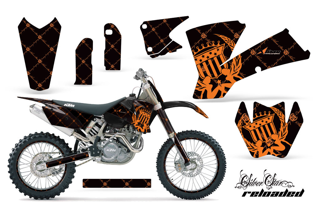 Graphics Kit Decal Wrap + # Plates For KTM  SX SXS EXC MXC 2001-2004 RELOADED ORANGE BLACK