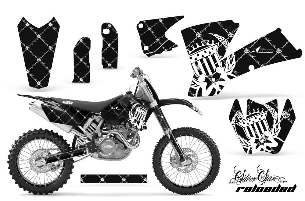 Graphics Kit Decal Wrap + # Plates For KTM SX SXS EXC MXC 2001-2004 RELOADED WHITE BLACK-atv motorcycle utv parts accessories gear helmets jackets gloves pantsAll Terrain Depot