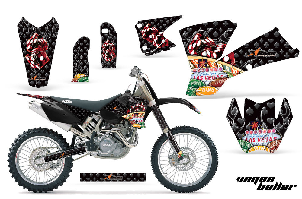 Dirt Bike Graphics Kit Decal Wrap For KTM  SX SXS EXC MXC 2001-2004 VEGAS BLACK