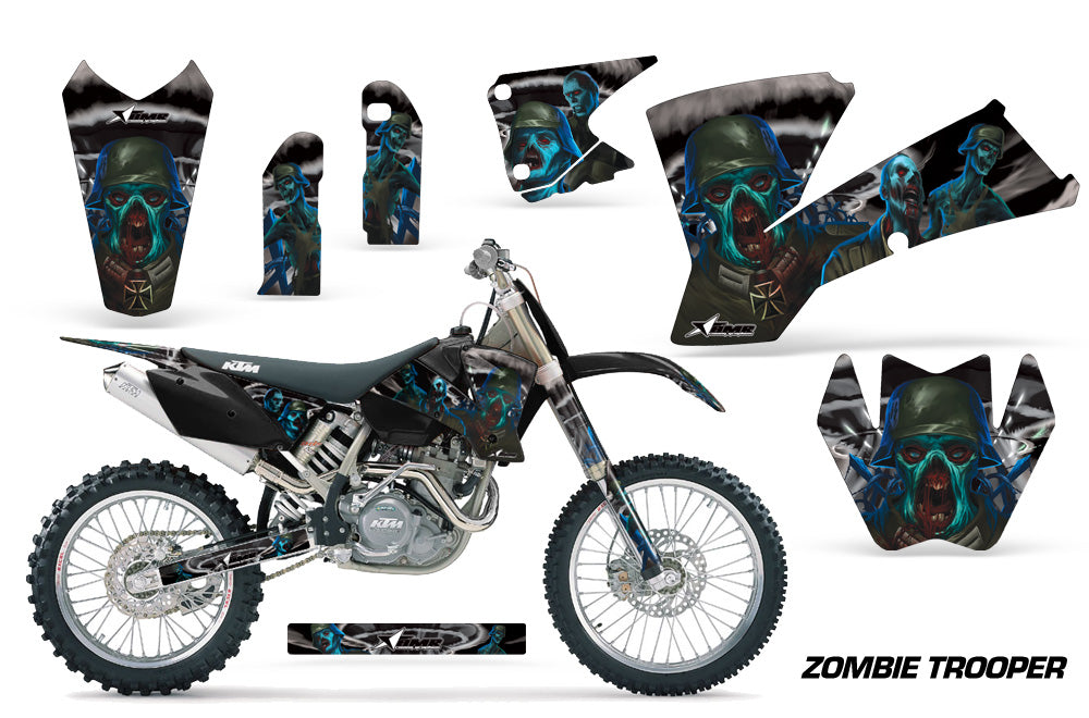 Dirt Bike Graphics Kit Decal Wrap For KTM  SX SXS EXC MXC 2001-2004 ZOMBIE BLACK