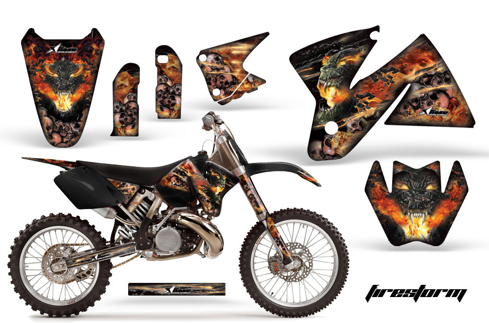 Dirt Bike Decal Graphic Kit Sticker Wrap For KTM SX/XC/EXC/MXC 1998-2001 FIRESTORM BLACK-atv motorcycle utv parts accessories gear helmets jackets gloves pantsAll Terrain Depot