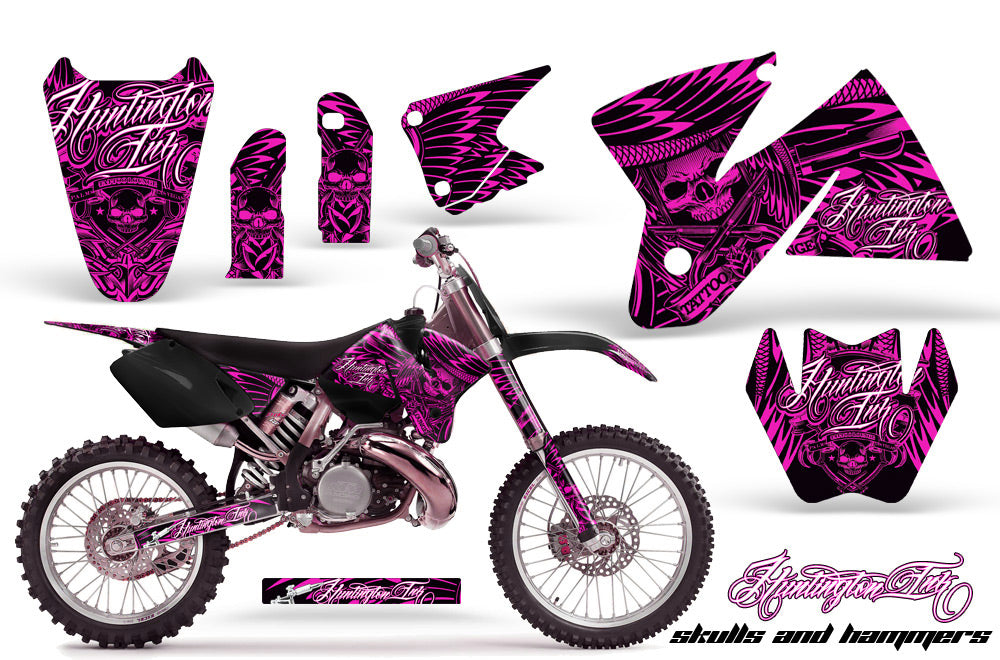 Dirt Bike Decal Graphic Kit Sticker Wrap For KTM SX/XC/EXC/MXC 1998-2001 HISH PINK
