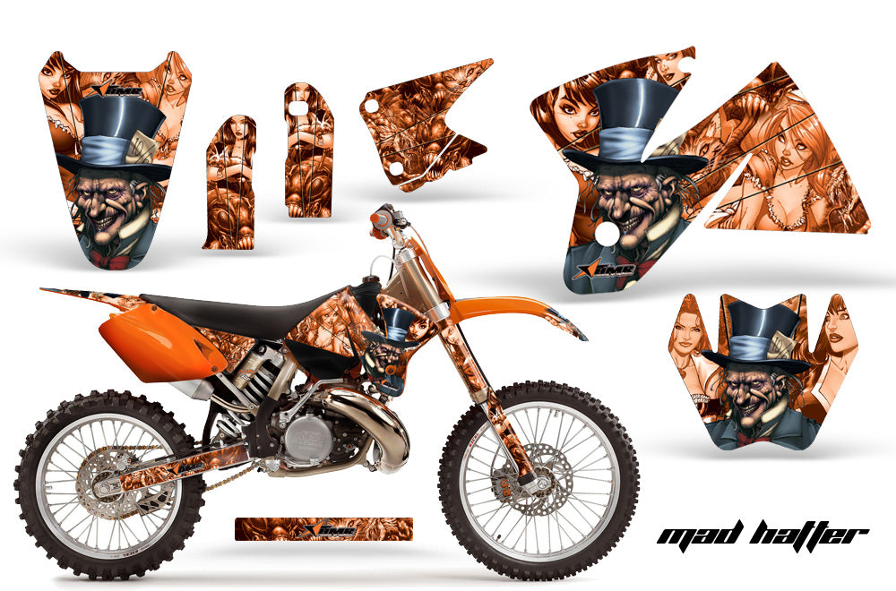 Dirt Bike Decal Graphic Kit Sticker Wrap For KTM SX/XC/EXC/MXC 1998-2001 HATTER ORANGE
