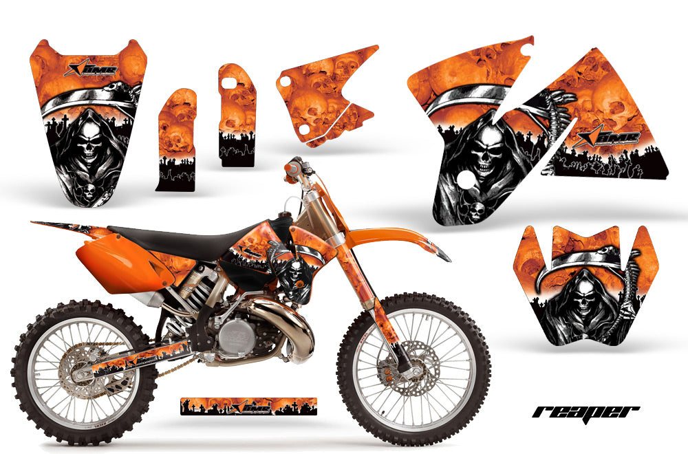 Dirt Bike Decal Graphic Kit Sticker Wrap For KTM SX/XC/EXC/MXC 1998-2001 REAPER ORANGE-atv motorcycle utv parts accessories gear helmets jackets gloves pantsAll Terrain Depot