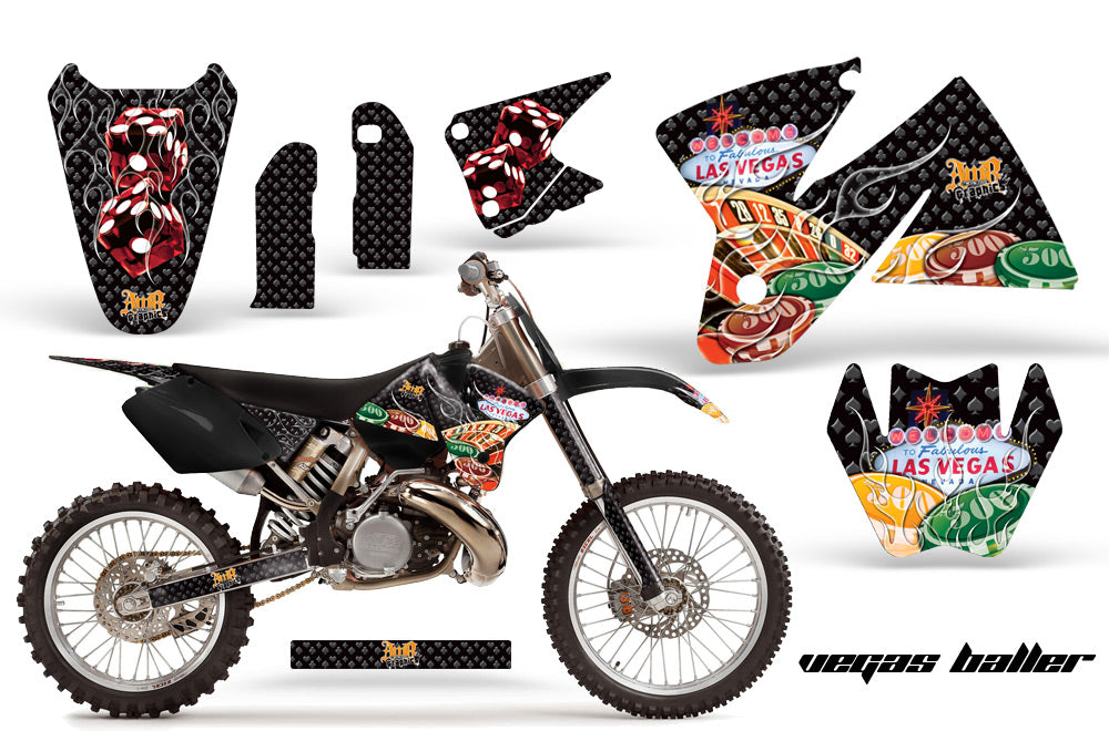 Dirt Bike Decal Graphic Kit Sticker Wrap For KTM SX/XC/EXC/MXC 1998-2001 VEGAS BLACK-atv motorcycle utv parts accessories gear helmets jackets gloves pantsAll Terrain Depot