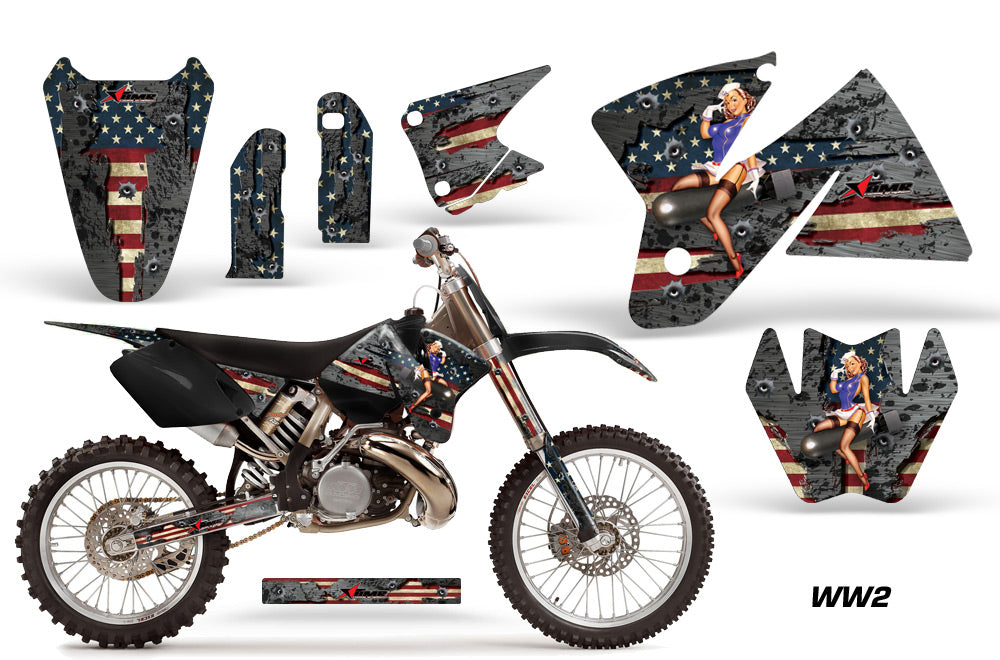 Dirt Bike Decal Graphic Kit Sticker Wrap For KTM SX/XC/EXC/MXC 1998-2001 WW2 BOMBER-atv motorcycle utv parts accessories gear helmets jackets gloves pantsAll Terrain Depot