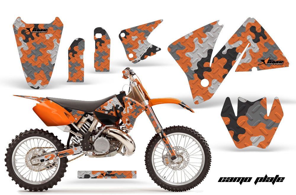 Dirt Bike Decal Graphic Kit Wrap For KTM EXC 200-520 MXC 200-300 2001-2002 CAMOPLATE ORANGE-atv motorcycle utv parts accessories gear helmets jackets gloves pantsAll Terrain Depot