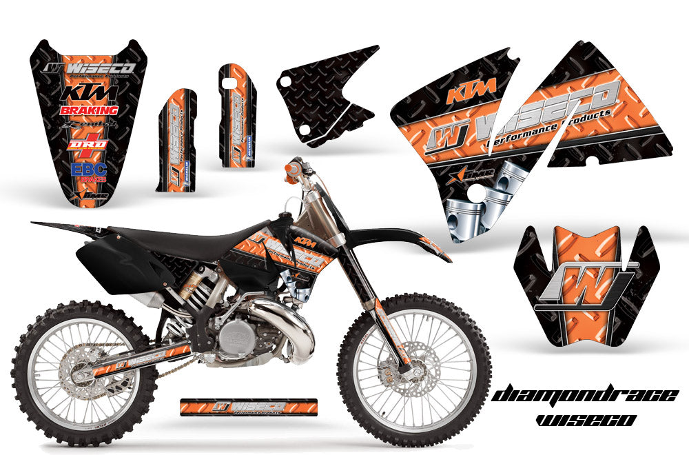 Dirt Bike Decal Graphic Kit Wrap For KTM EXC 200-520 MXC 200-300 2001-2002 DIAMOND RACE WHITE BLACK-atv motorcycle utv parts accessories gear helmets jackets gloves pantsAll Terrain Depot