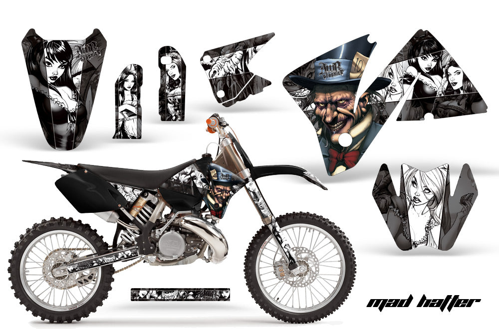 Dirt Bike Decal Graphic Kit Wrap For KTM EXC 200-520 MXC 200-300 2001-2002 HATTER WHITE BLACK-atv motorcycle utv parts accessories gear helmets jackets gloves pantsAll Terrain Depot