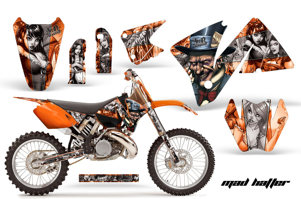 Dirt Bike Decal Graphic Kit Wrap For KTM EXC 200-520 MXC 200-300 2001-2002 HATTER SILVER ORANGE-atv motorcycle utv parts accessories gear helmets jackets gloves pantsAll Terrain Depot