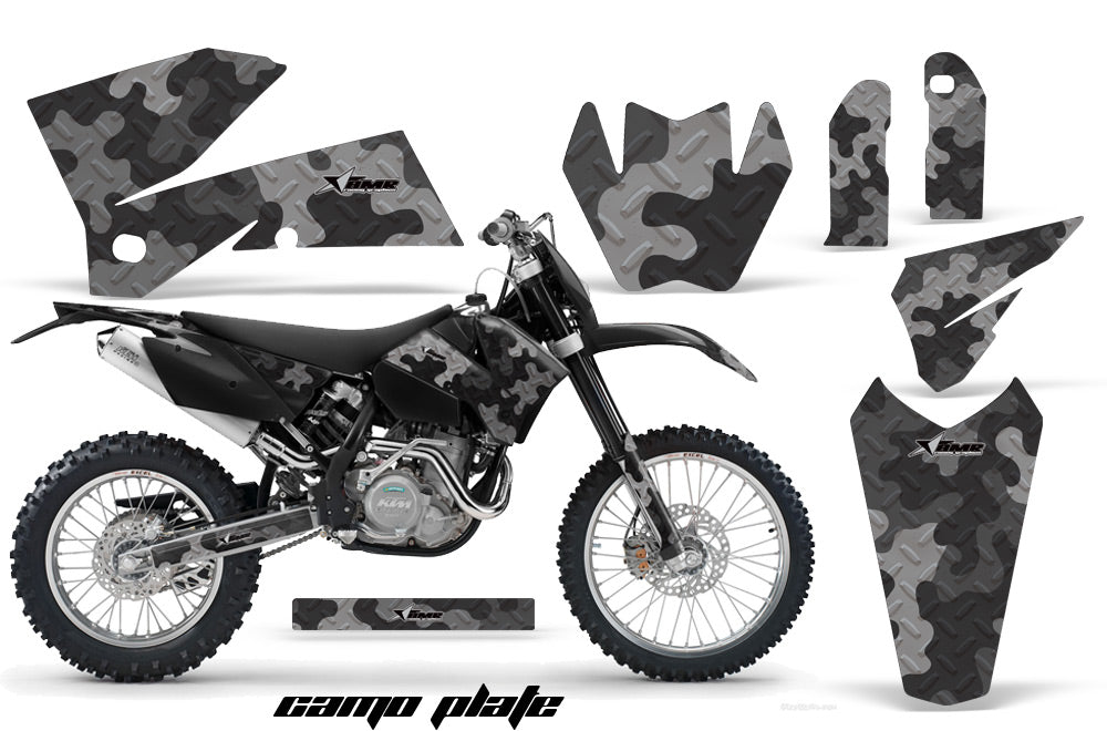 Dirt Bike Decal Graphic Kit Wrap For KTM EXC/SX/MXC/SMR/XCF-W 2005-2007 CAMOPLATE BLACK-atv motorcycle utv parts accessories gear helmets jackets gloves pantsAll Terrain Depot
