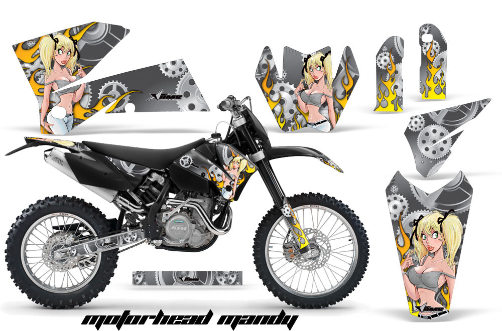 Dirt Bike Decal Graphic Kit Wrap For KTM EXC/SX/MXC/SMR/XCF-W 2005-2007 MOTO MANDY SILVER-atv motorcycle utv parts accessories gear helmets jackets gloves pantsAll Terrain Depot
