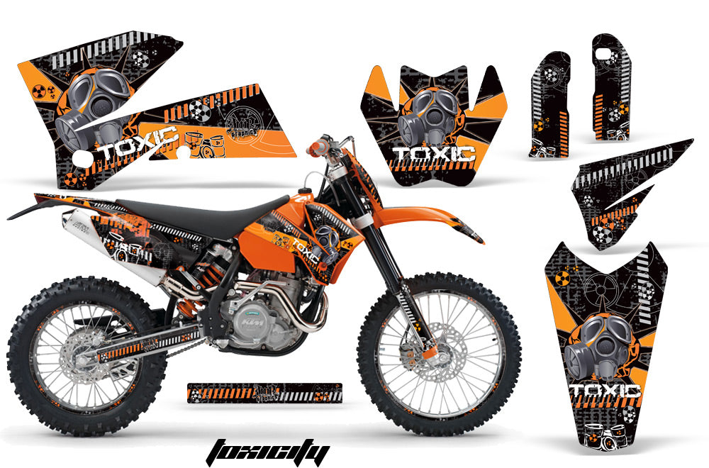Graphics Kit Decal Wrap For KTM EXC/SX/MXC/SMR/XCF-W 2005-2007 TOXIC ORANGE BLACK-atv motorcycle utv parts accessories gear helmets jackets gloves pantsAll Terrain Depot