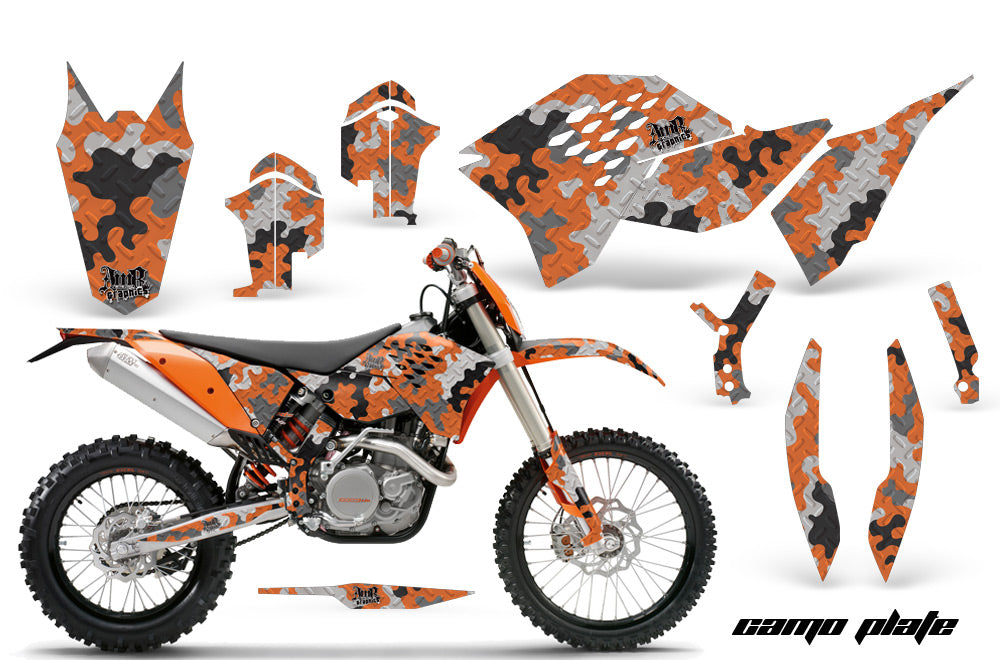Dirt Bike Graphics Kit Decal Wrap For KTM SX/XCR-W/EXC/XC/XC-W/XCF-W 2007-2011 CAMOPLATE ORANGE-atv motorcycle utv parts accessories gear helmets jackets gloves pantsAll Terrain Depot