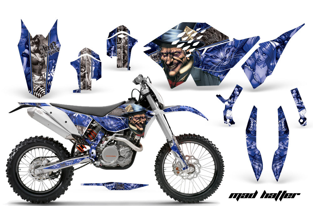 Dirt Bike Graphics Kit Decal Wrap For KTM SX/XCR-W/EXC/XC/XC-W/XCF-W 2007-2011 HATTER SILVER BLUE-atv motorcycle utv parts accessories gear helmets jackets gloves pantsAll Terrain Depot