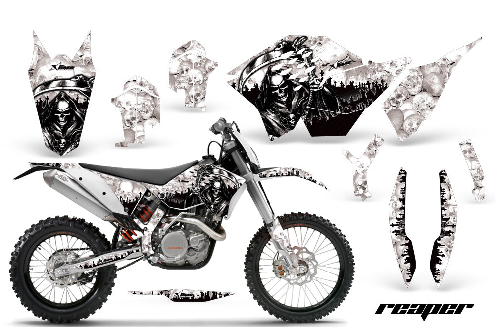 Dirt Bike Graphics Kit Decal Wrap For KTM SX/XCR-W/EXC/XC/XC-W/XCF-W 2007-2011 REAPER WHITE-atv motorcycle utv parts accessories gear helmets jackets gloves pantsAll Terrain Depot
