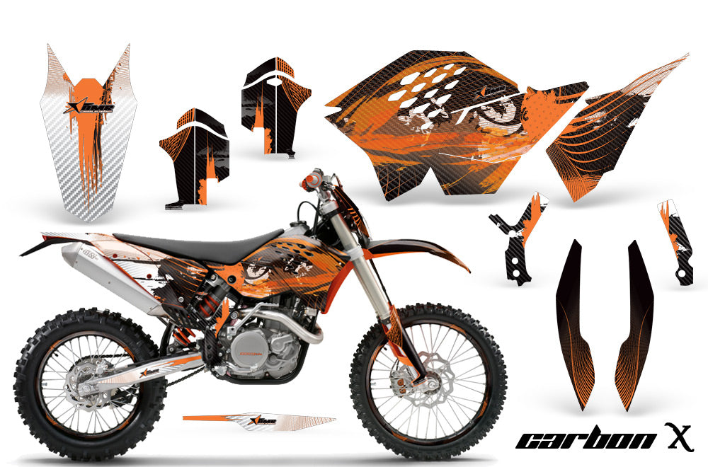 Graphics Kit Decal Wrap + # Plates For KTM SX/XCR-W/EXC/XC/XC-W/XCF-W 2007-2011 CARBONX ORANGE-atv motorcycle utv parts accessories gear helmets jackets gloves pantsAll Terrain Depot