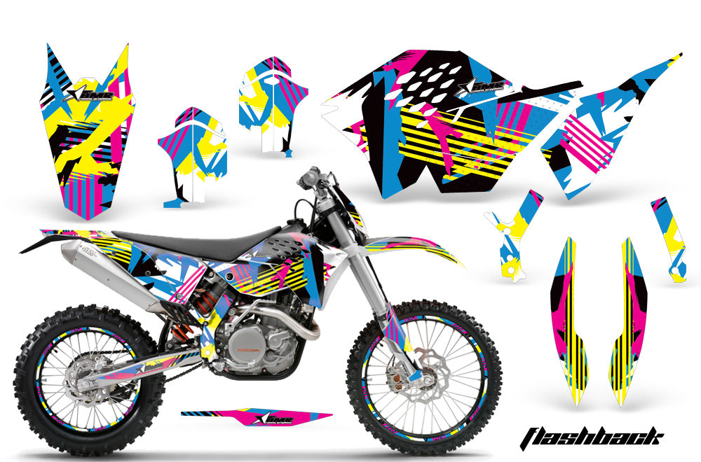 Graphics Kit Decal Wrap + # Plates For KTM SX/XCR-W/EXC/XC/XC-W/XCF-W 2007-2011 FLASHBACK-atv motorcycle utv parts accessories gear helmets jackets gloves pantsAll Terrain Depot