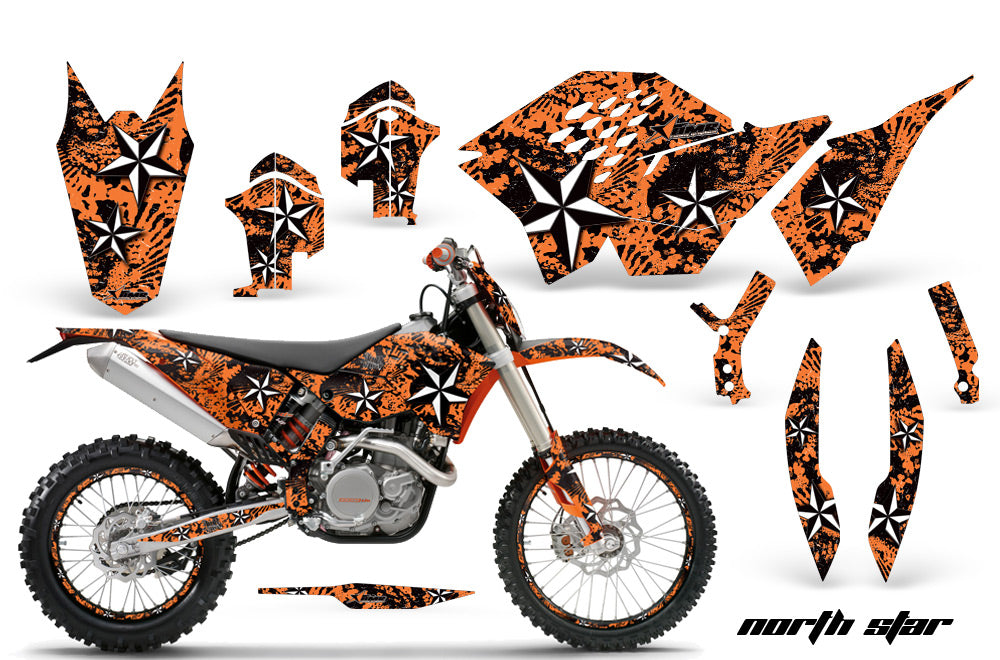 Graphics Kit Decal Wrap + # Plates For KTM SX/XCR-W/EXC/XC/XC-W/XCF-W 2007-2011 NORTHSTAR ORANGE-atv motorcycle utv parts accessories gear helmets jackets gloves pantsAll Terrain Depot
