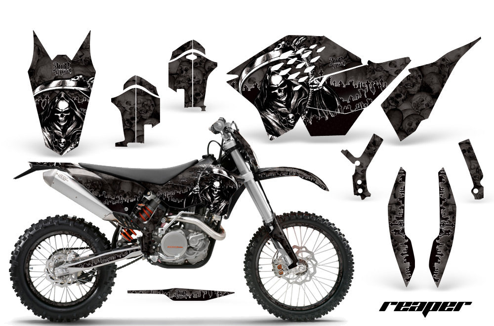 Graphics Kit Decal Wrap + # Plates For KTM SX/XCR-W/EXC/XC/XC-W/XCF-W 2007-2011 REAPER BLACK-atv motorcycle utv parts accessories gear helmets jackets gloves pantsAll Terrain Depot
