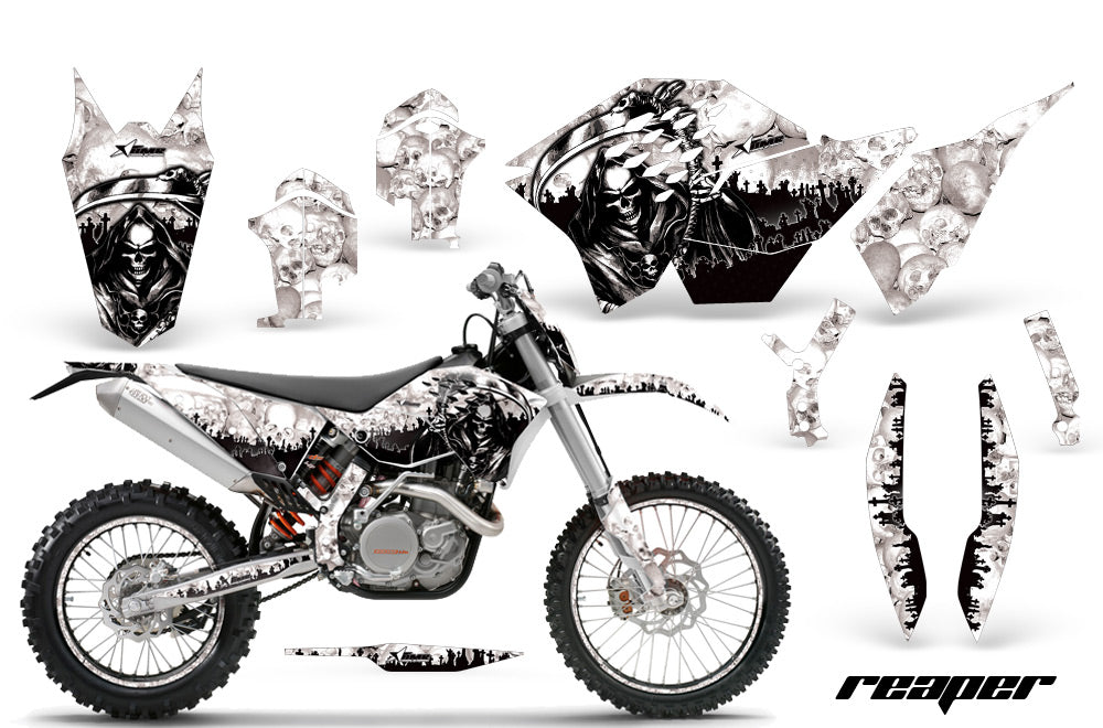 Graphics Kit Decal Wrap + # Plates For KTM SX/XCR-W/EXC/XC/XC-W/XCF-W 2007-2011 REAPER WHITE-atv motorcycle utv parts accessories gear helmets jackets gloves pantsAll Terrain Depot