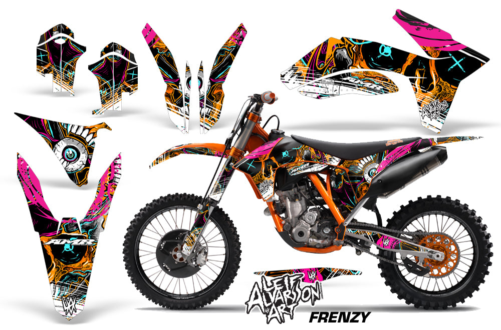 Dirt Bike Decal Graphics Kit Wrap For KTM SX/SX-F/XC/EXC/XFC-W 2011-2013 FRENZY ORANGE-atv motorcycle utv parts accessories gear helmets jackets gloves pantsAll Terrain Depot