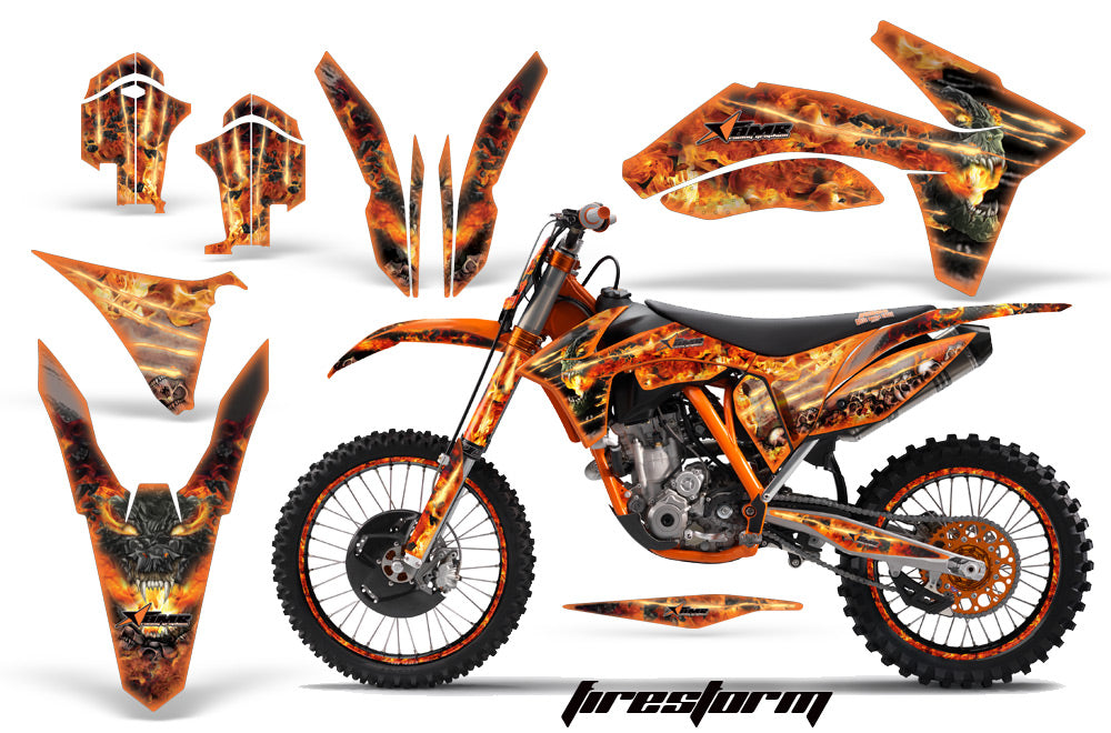 Graphics Kit Decal Sticker Wrap + # Plates For KTM SX/SX-F/XC/EXC/XFC-W 2011-2013 FIRESTORM ORANGE-atv motorcycle utv parts accessories gear helmets jackets gloves pantsAll Terrain Depot