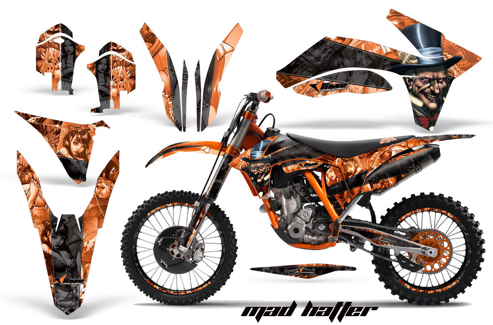 Graphics Kit Decal Sticker Wrap + # Plates For KTM SX/SX-F/XC/EXC/XFC-W 2011-2013 HATTER BLACK ORANGE-atv motorcycle utv parts accessories gear helmets jackets gloves pantsAll Terrain Depot
