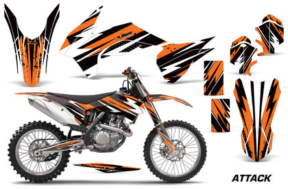 Graphics Kit Decal Wrap For KTM SX/SXF/XCF/EXC/TC-F/XC/XCF-W 2013-2016 ATTACK ORANGE