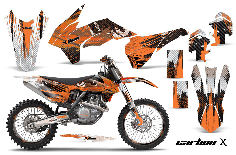 Graphics Kit Decal Wrap + # Plates For KTM SX/SXF/XCF/EXC/TC-F/XC/XCF-W 2013-2016 CARBONX ORANGE-atv motorcycle utv parts accessories gear helmets jackets gloves pantsAll Terrain Depot