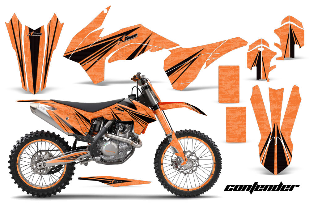 Graphics Kit Decal Wrap + # Plates For KTM SX/SXF/XCF/EXC/TC-F/XC/XCF-W 2013-2016 CONTENDER BLACK ORANGE-atv motorcycle utv parts accessories gear helmets jackets gloves pantsAll Terrain Depot