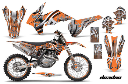 Graphics Kit Decal Wrap + # Plates For KTM SX/SXF/XCF/EXC/TC-F/XC/XCF-W 2013-2016 DEADEN ORANGE