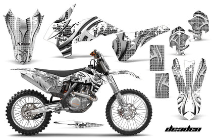 Graphics Kit Decal Wrap + # Plates For KTM SX/SXF/XCF/EXC/TC-F/XC/XCF-W 2013-2016 DEADEN WHITE