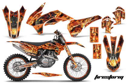 Graphics Kit Decal Wrap + # Plates For KTM SX/SXF/XCF/EXC/TC-F/XC/XCF-W 2013-2016 FIRESTORM ORANGE