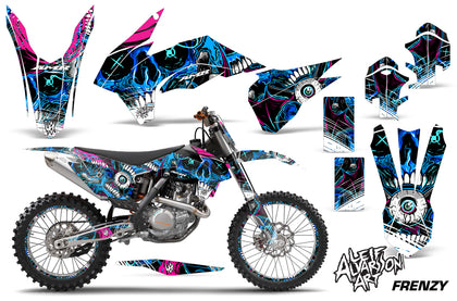 Graphics Kit Decal Wrap + # Plates For KTM SX/SXF/XCF/EXC/TC-F/XC/XCF-W 2013-2016 FRENZY BLUE