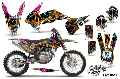 Graphics Kit Decal Wrap + # Plates For KTM SX/SXF/XCF/EXC/TC-F/XC/XCF-W 2013-2016 FRENZY ORANGE