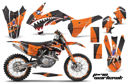 Graphics Kit Decal Wrap + # Plates For KTM SX/SXF/XCF/EXC/TC-F/XC/XCF-W 2013-2016 WARHAWK ORANGE