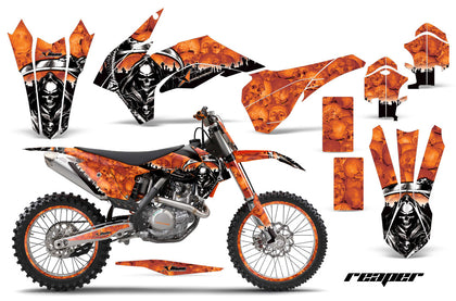 Graphics Kit Decal Wrap + # Plates For KTM SX/SXF/XCF/EXC/TC-F/XC/XCF-W 2013-2016 REAPER ORANGE