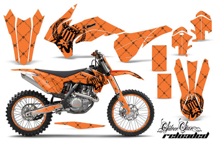 Graphics Kit Decal Wrap + # Plates For KTM SX/SXF/XCF/EXC/TC-F/XC/XCF-W 2013-2016 RELOADED BLACK ORANGE